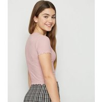 Girls Pale Pink Ribbed Frill T-Shirt New Look