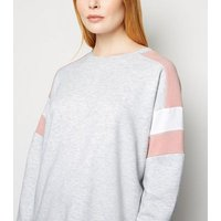 Grey Colour Block Raglan Sweatshirt New Look