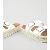 White Leather-Look Beaded Flatform Sliders New Look Vegan