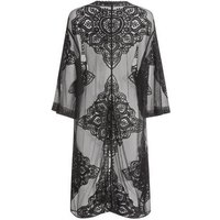 Curves Black Crochet Mesh Long Kimono New Look