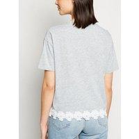 Grey Marl Floral Crochet Hem T-Shirt New Look