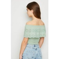 Girls Light Green Broderie Bardot Top New Look