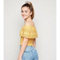 Girls Yellow Broderie Bardot Top New Look