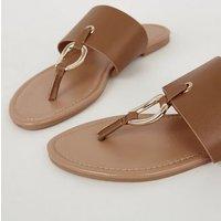 Tan Leather-Look Ring Strap Sandals New Look Vegan
