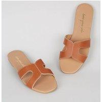 Tan Leather-Look Sliders New Look Vegan