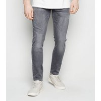 Men's Pale Grey Washed Super Skinny Stretch Jeans New Look