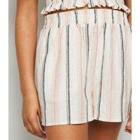 Girls Off White Stripe Linen Blend Shorts New Look