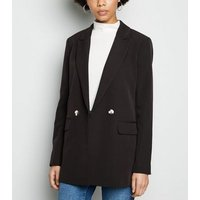 Black Double Breasted Long Sleeve Blazer New Look