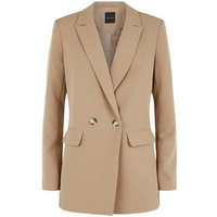 Camel Double Breasted Long Sleeve Blazer New Look