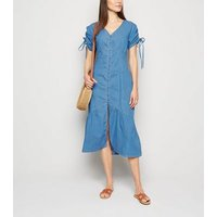 Blue-Vanilla-Blue-Denim-Button-Front-Midi-Dress-New-Look