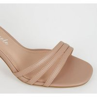 Cream Strappy Flared Stiletto Sandals New Look Vegan