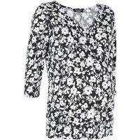 Maternity Black Floral V Neck Top New Look