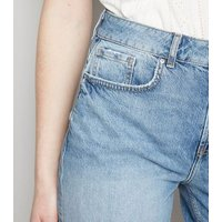 Tall Blue Roll Hem Denim Shorts New Look