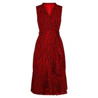 Mela Red Zebra Print Wrap Midi Dress New Look