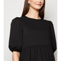 Maternity Black Poplin Puff Sleeve Dress New Look