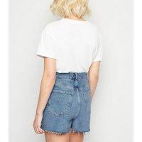 Petite Blue Frayed High Waist Mom Shorts New Look