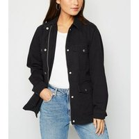 Petite Black Belted Lightweight Jacket New Look