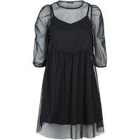 Black Mesh Puff Sleeve Mini Smock Dress New Look