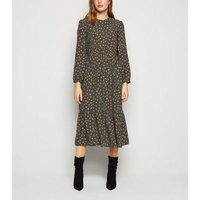 Black Spot Long Sleeve Smock Midi Dress New Look