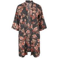 Curves Black Floral Long Kimono New Look