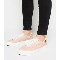 Pale Pink Leather-Look Side Stitch Trainers New Look Vegan