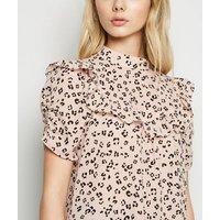 Pink Leopard Print Frill Trim Yoke Top New Look