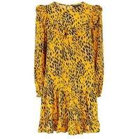 Yellow Animal Print Tiered Hem Smock Dress New Look