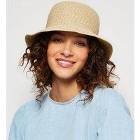 Stone Straw Effect Woven Bucket Hat New Look