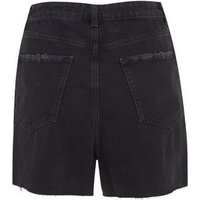 Tall Black High Waist Denim Mom Shorts New Look