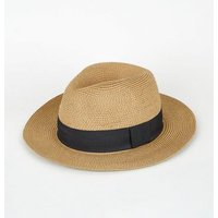 Tan Woven Straw Effect Fedora Hat New Look