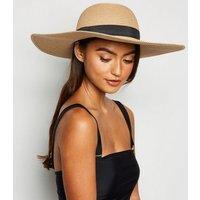 Tan Woven Straw Effect Floppy Hat New Look