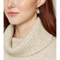 Gold Mini Pave Drop Earrings New Look