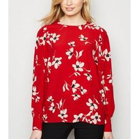 Red Floral Puff Sleeve Blouse New Look