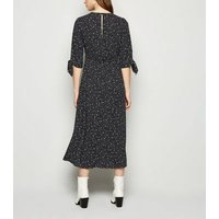 Black Spot Tie Sleeve Side Split Midi Dress New Look