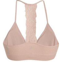 Pink Ribbed Lace Racerback Seamless Crop Top New Look