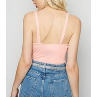 Pale Pink Ribbed Bustier Bodysuit New Look