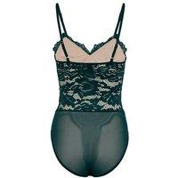 Dark Green Floral Lace Bustier Bodysuit New Look