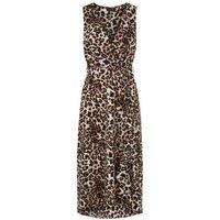 Brown Leopard Print Dip Hem Midi Dress New Look