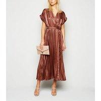 Rust Stripe Satin Pleated Midi Dress New Look