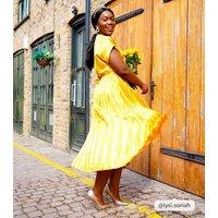 Mustard Stripe Satin Pleated Midi Dress New Look