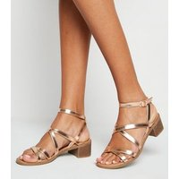 Wide Fit Rose Gold Strappy Low Heel Sandals New Look Vegan