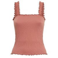 Rust Shirred Frill Trim Cami New Look