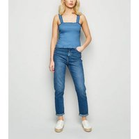 Pale Blue Shirred Frill Trim Cami New Look
