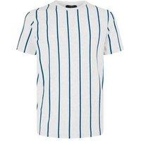 Grey Marl Vertical Stripe Crew T-Shirt New Look