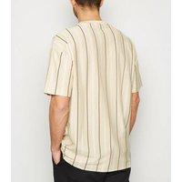 Stone Vertical Stripe Oversized T-Shirt New Look