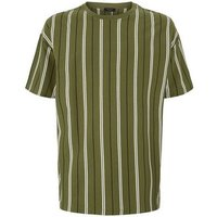 Olive Vertical Stripe Oversized T-Shirt New Look