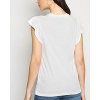 White Frill Trim Cap Sleeve Top New Look
