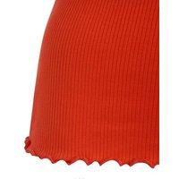 Bright Orange Ribbed Frill Scoop Neck Vest New Look