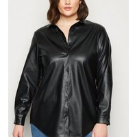Curves Black Leather-Look Shirt New Look