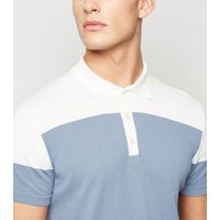 Mens Pale Blue Colour Block Polo Shirt New Look